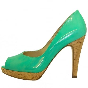 Patu high heel peep toe shoes in pearlescent emerald patent