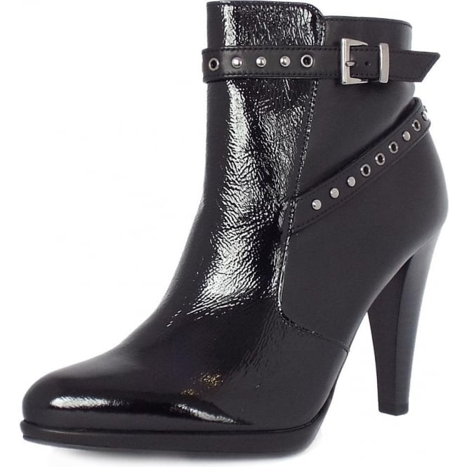 Peter Kaiser Peli Modern High Heel Ankle Boots In Black Leather And Patent