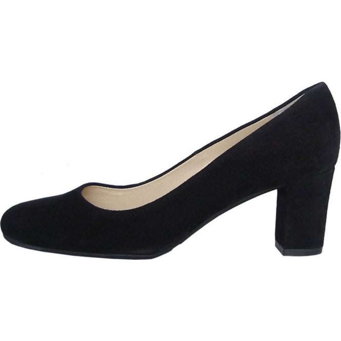 Peter Kaiser Plata classic round toe court shoes in black suede