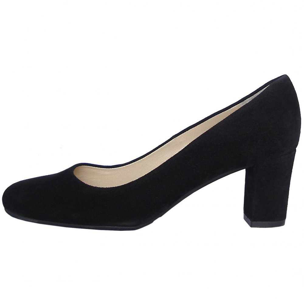 kaiser plata classic court shoes in black suede