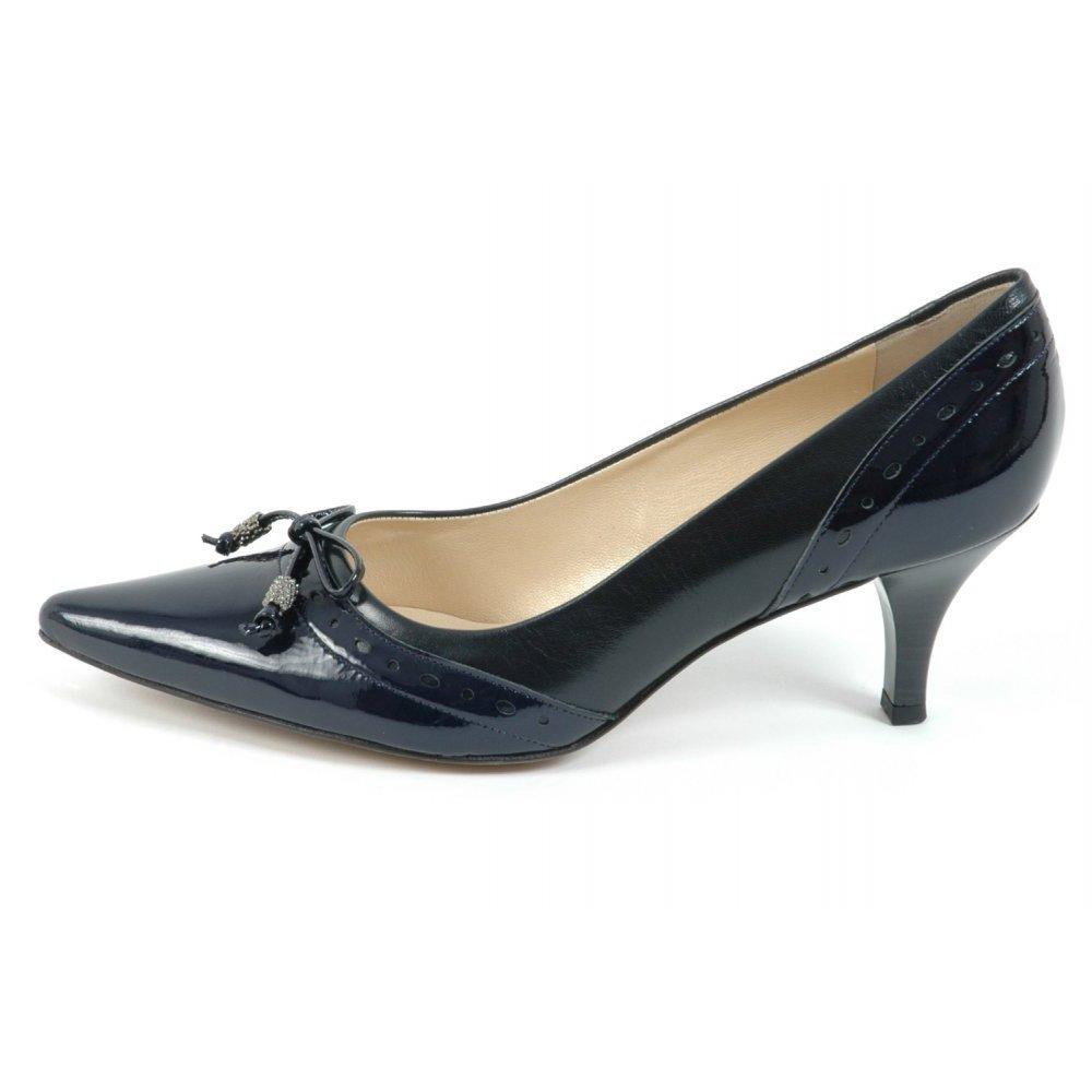 Womens Shoes : Ploen womens kitten heel shoes in navy leather