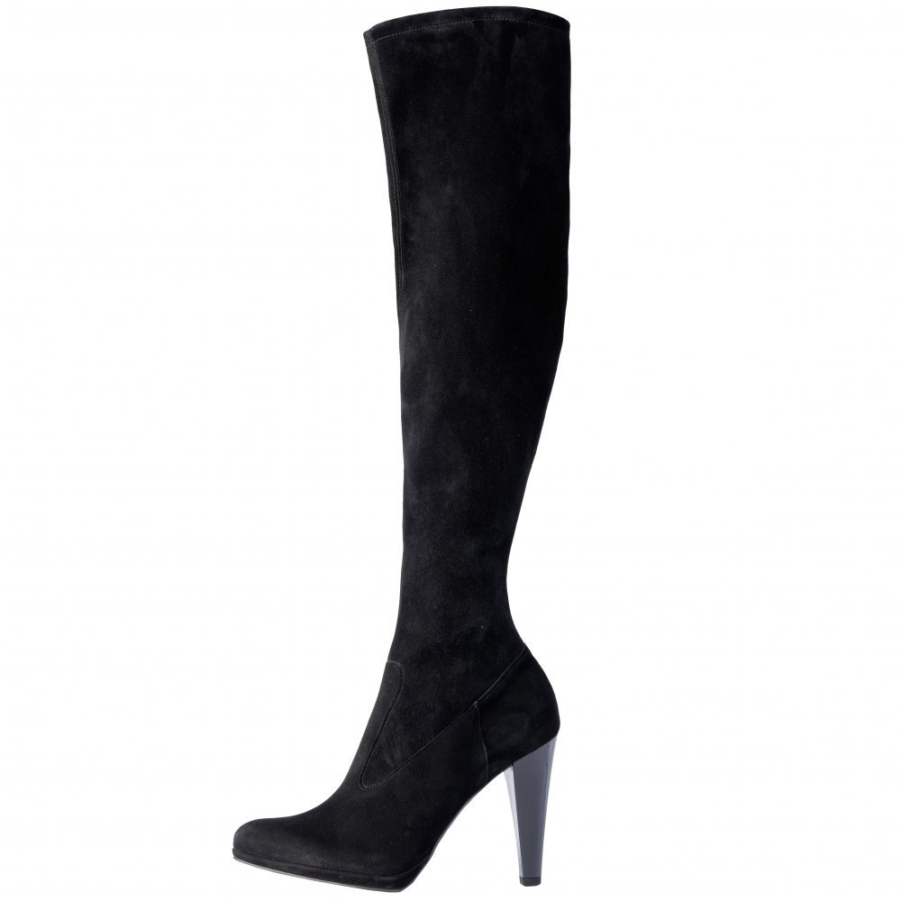 kaiser pola the knee high heel black suede