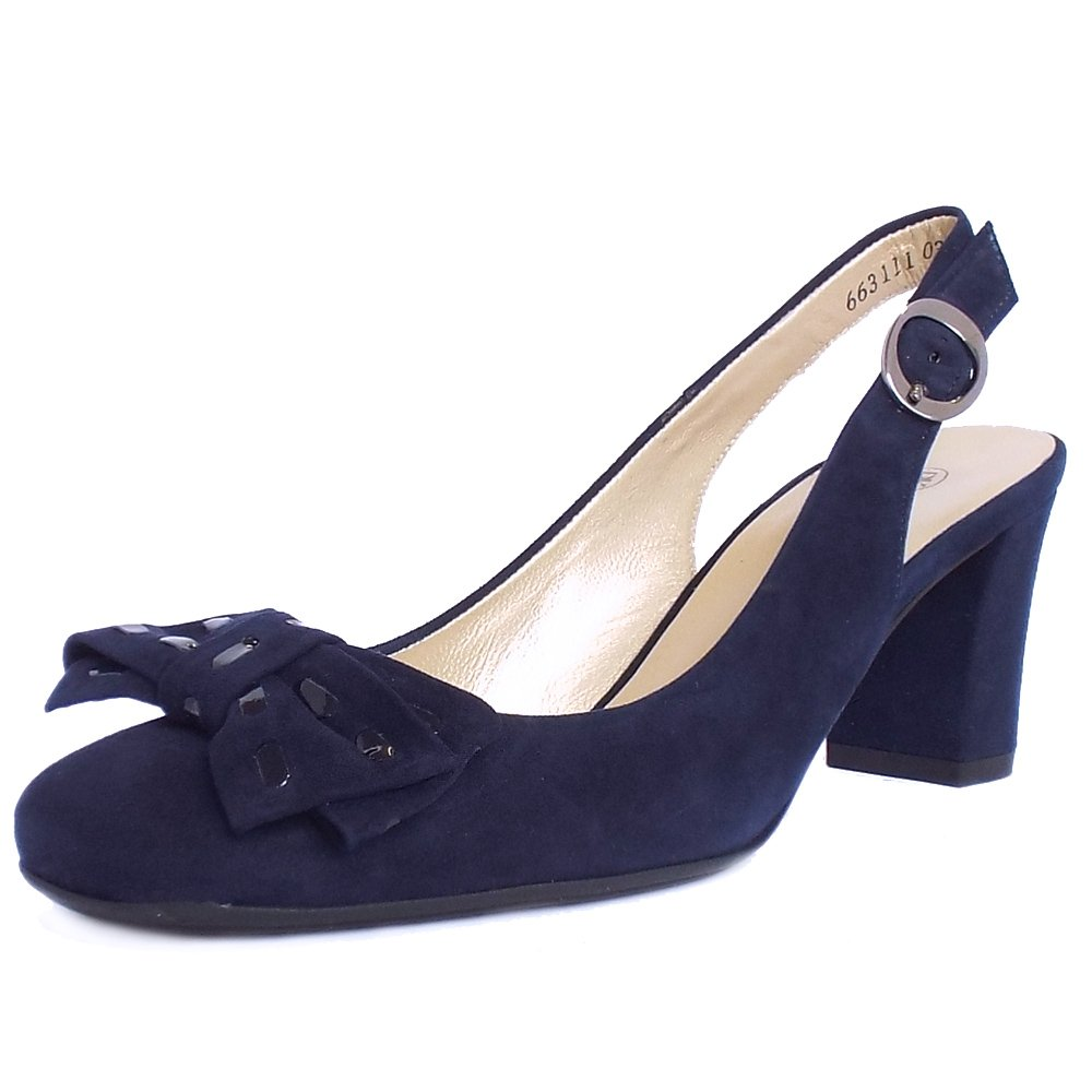 Peter Kaiser Presto Ladies Slingback Court Shoes In Navy