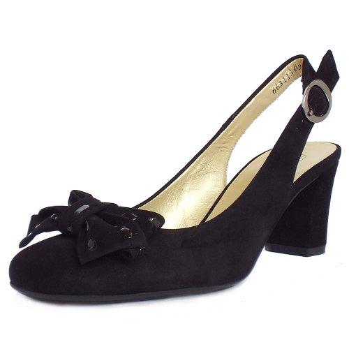 Peter Kaiser Presto   Ladies Black Suede Slingback Court Shoes