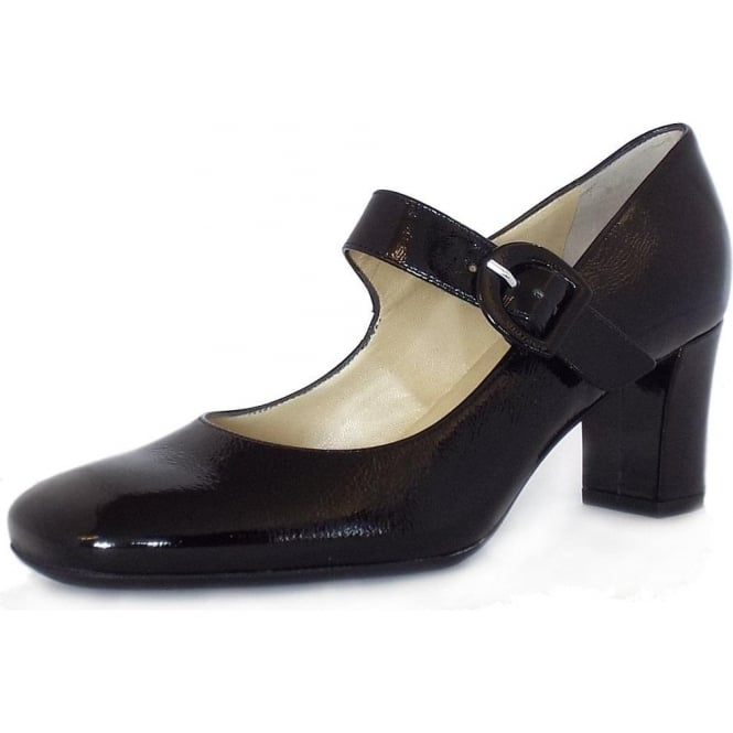 Peter Kaiser Punto Mary-Jane Block Heel Court Shoes in Black Crackled Effect Patent