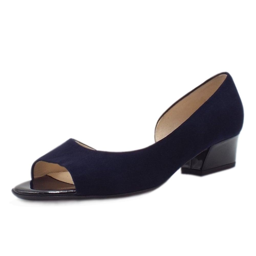 Peter Kaiser Pura Low Heel Open Toe Shoes in Notte Suede