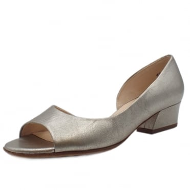Pura Low Heel Open Toe Shoes in Taupe Furla