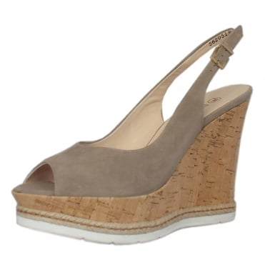 Regine Summer High Wedge Platform Sandals in Taupe Suede
