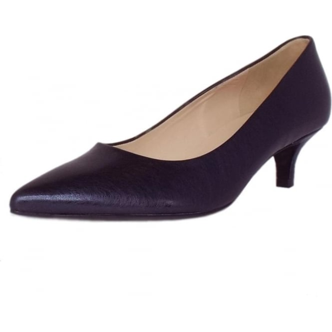 Renate Womens Kitten Heel Pointy Toe Court Shoes in Navy Metallic Brushed Effect Leather