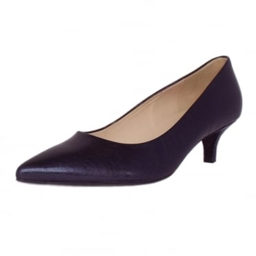 Renate Women's Kitten Heel Pointy Toe Court Shoes in Navy Metallic Brushed Effect Leather