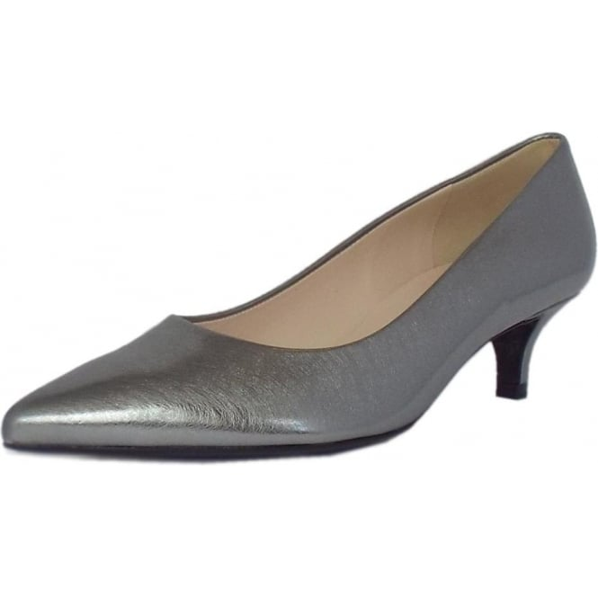 92274a1ff4df Renate Womens Kitten Heel Pointy Toe Court Shoes in Silver Metallic Brushed  Effect Leather