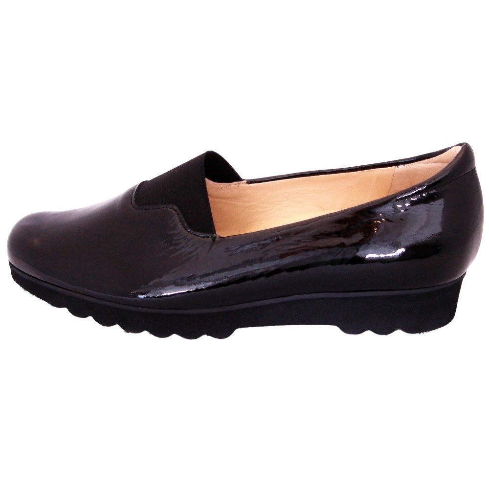 kaiser renza black patent hight cut slip in shoes