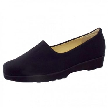 Ronda Ladies Comfortable Stretch Shoe in Black