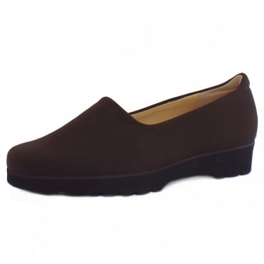Ronda Ladies Comfortable Stretch Shoe in Nuba Brown