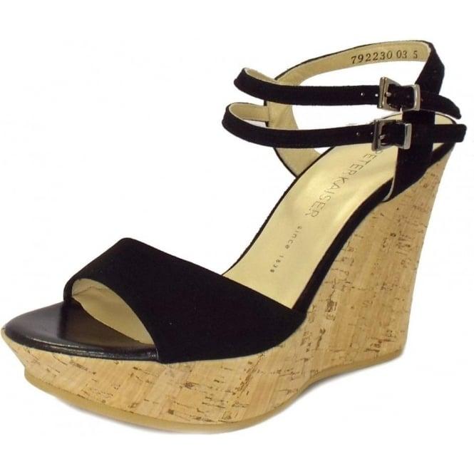 097a34c264394 Ronko Ladies Wedge Sandals in Black Suede
