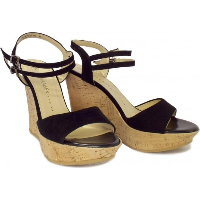 5eb4c5ec4cf Ronko Ladies Wedge Sandals in Black Suede