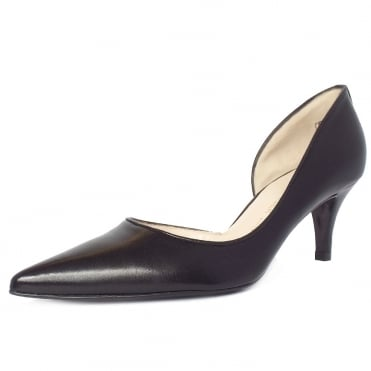 Sadin Modern Pointed Toe Court Shoes in Black Leather