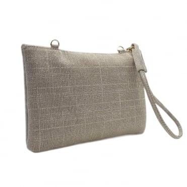 Saldina Women's Evening Clutch Bag in Classy Sand Shimmer