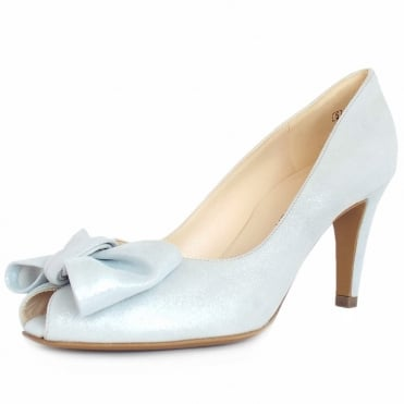 Peter Kaiser Samos Peep Toe Dressy Shoes In Ice Blue Suede