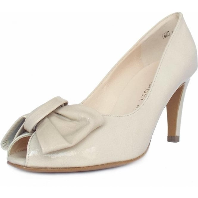 Peter Kaiser Samos Peep Toe Dressy Shoes In Lana crackle Nude Patent