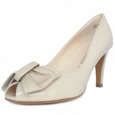 Samos Peep Toe Dressy Shoes In Lana crackle Nude Patent