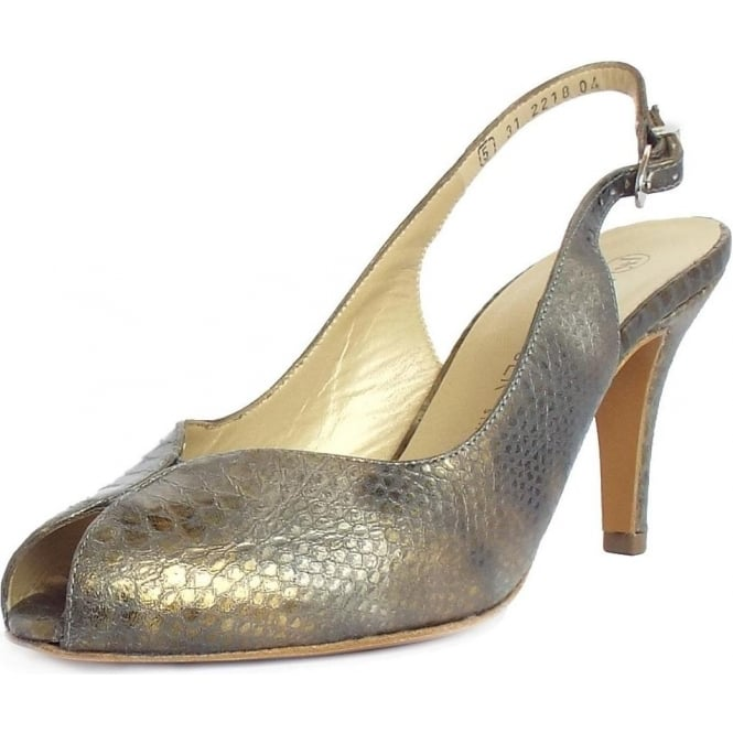 Peter Kaiser Sandrie Ladies Slingback Shoes in Croc Pewter