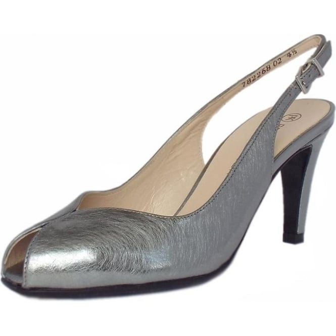 Peter Kaiser Sandrie Women's Peep Toe Slingback Shoes in Brushed Effect Steel Silver Finish