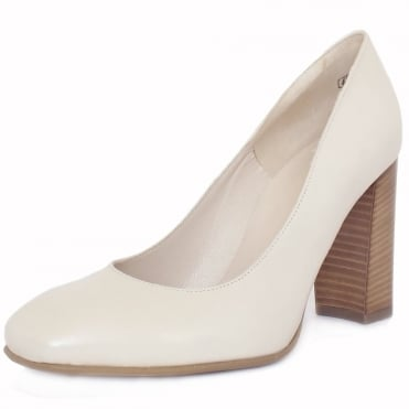 Sandy Women's Trendy BLock Heel Court Shoes in Cream