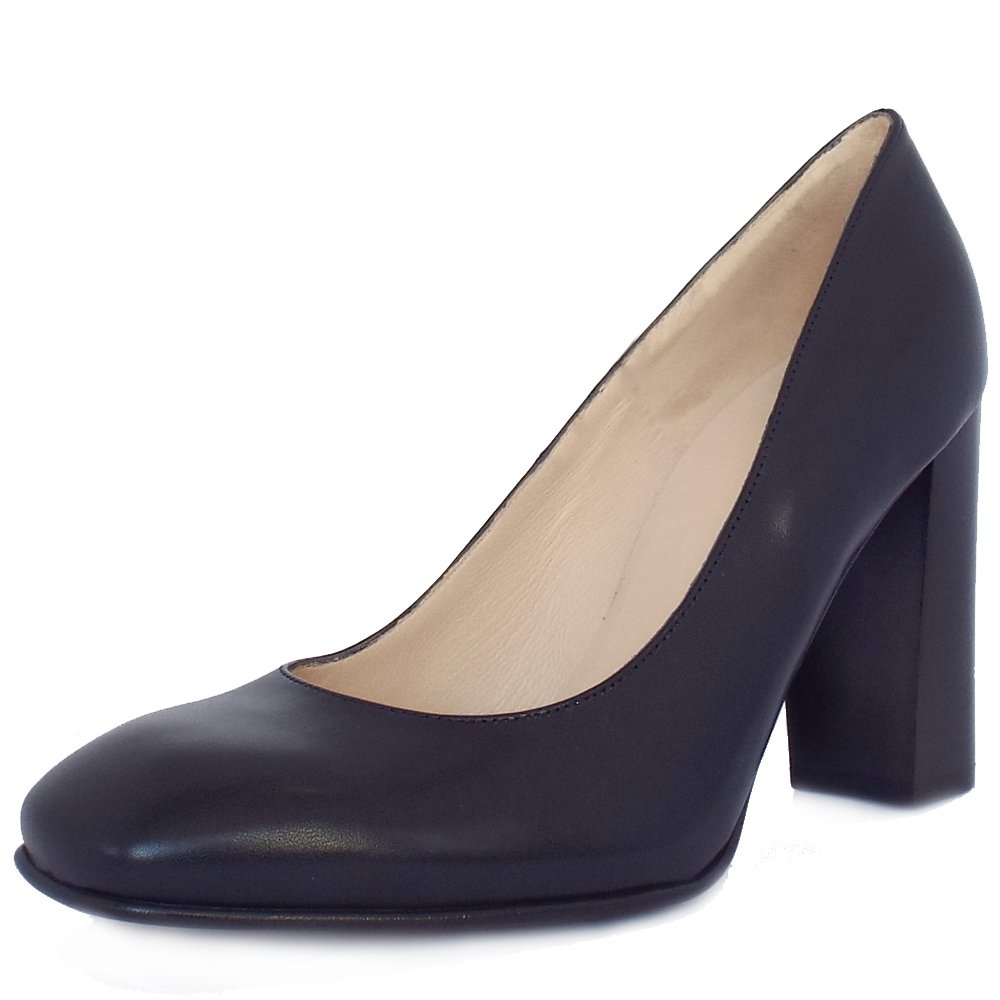 Navy Court Shoe Leather