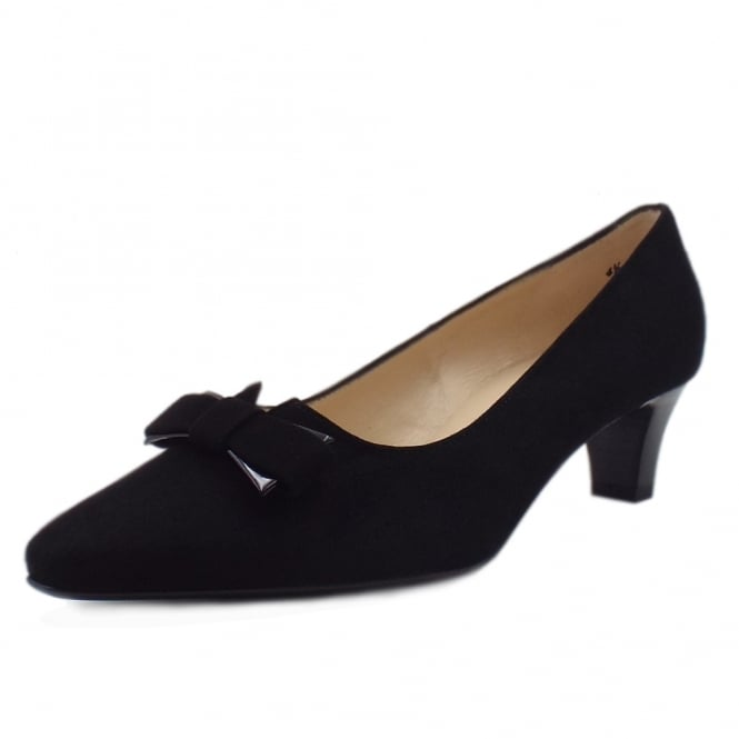 Peter Kaiser Saris Wide Fit Court Shoes With Bow In Black Suede