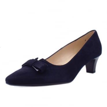 Saris Wide Fit Court Shoes With Bow In Navy Suede