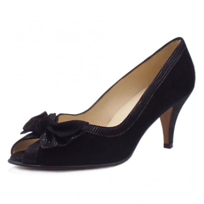 Peter Kaiser Satyr Chic Peep Toe Dressy Shoes in Black Suede
