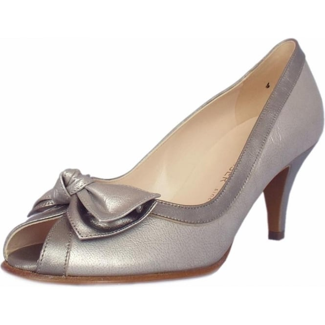 Peter Kaiser Satyr Peep Toe Dressy Shoes in Metallic Leather