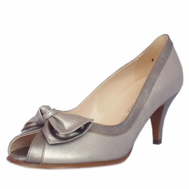 Satyr Peep Toe Dressy Shoes in Metallic Leather