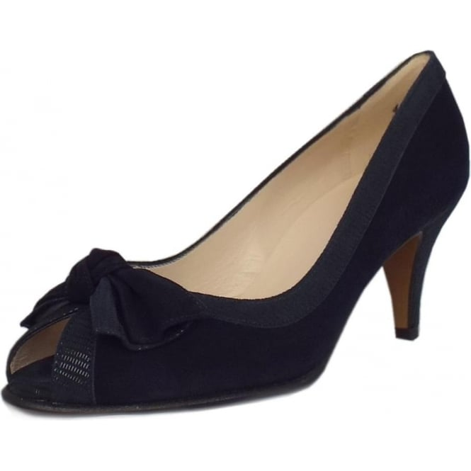 Peter Kaiser Satyr Women's Peep Toe Dressy Shoes in Navy Suede