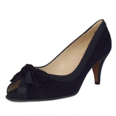 Satyr Women's Peep Toe Dressy Shoes in Navy Suede