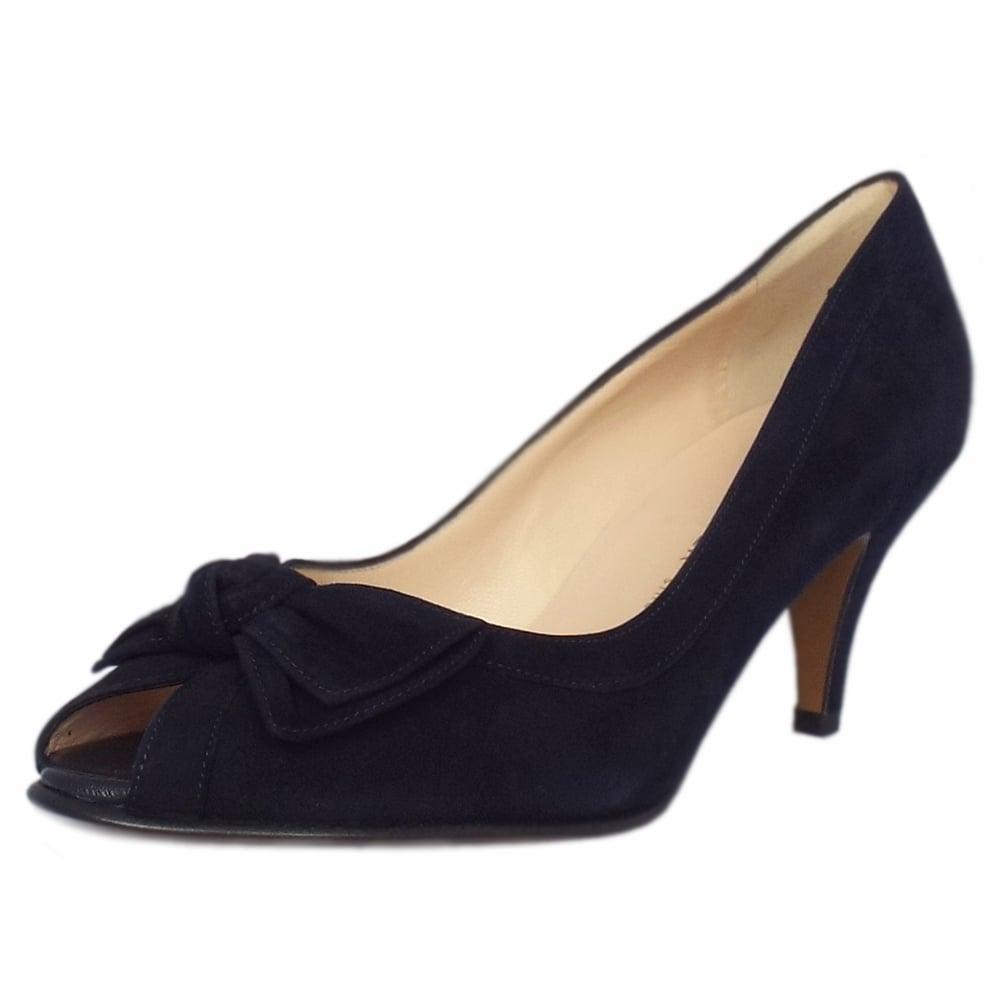 Satyr Women  039 s Peep Toe Dressy Shoes in Notte Suede 9606d0299e