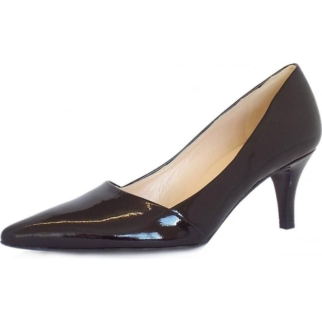 Peter Kaiser Semitara Women's Kitten Heel Pointy Toe Court Shoes in Black Crackle