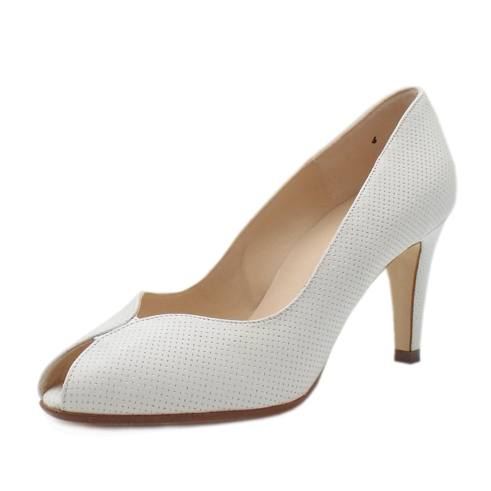 online store 40ee7 ca75c Peter Kaiser Sevilia Peep Toe Court Shoes in White Pin