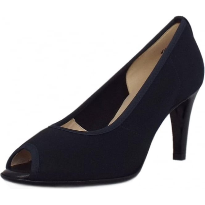 newest dc49b d1f13 Sibylle Classic Peep Toe Mid Heel Shoes in Navy Notte