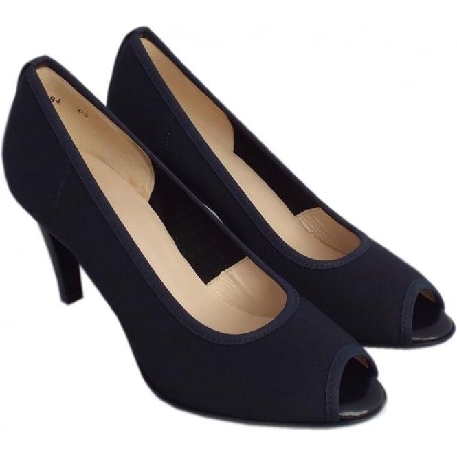 black peep toe shoes mid heel
