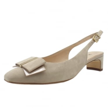 Silia Sling Back Low Heel Shoes In Sand Suede