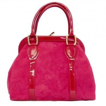 Sinema Ladies Handbag Bag in Pink Suede