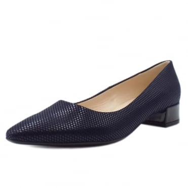 Sita Classic Low Heel Court Shoes in Notte Cube
