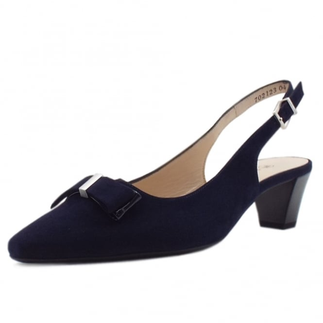Peter Kaiser Sofie Sling Back Mid Heel Shoes In Navy Suede