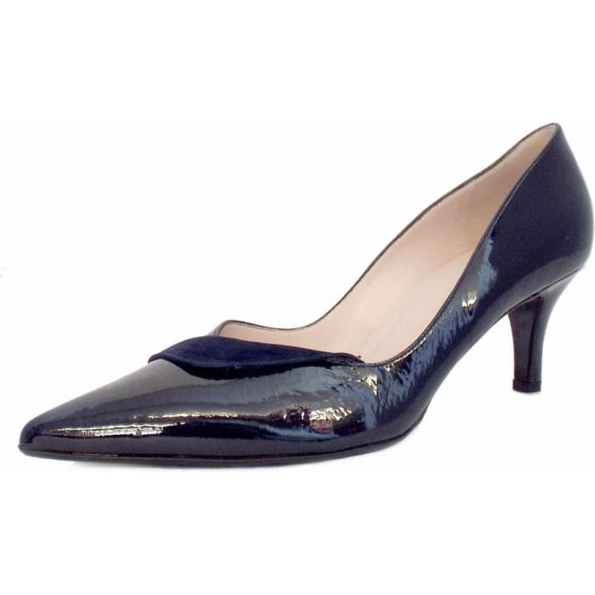 kaiser soralia navy patent evening shoes