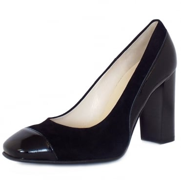 Peter Kaiser Sorana High Block Heel Court Shoes In Black Patent And Suede