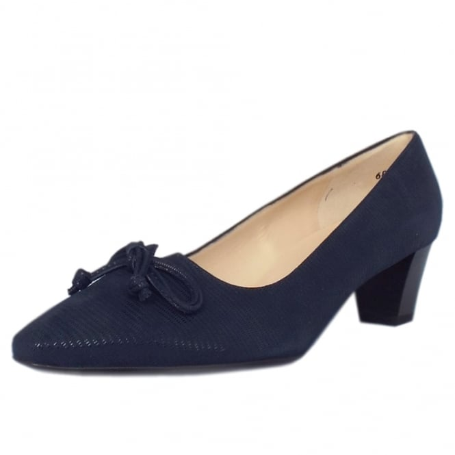Peter Kaiser Stephanie Mid Heel Pointed Toe Court Shoes in Navy Lizard