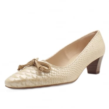 Stephanie Mid Heel Pointed Toe Court Shoes in Sabbia Birman