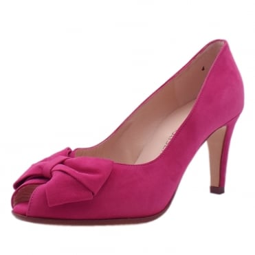 Stila Ladies Peep Toe Shoes in Berry Suede
